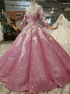 Silhouette:ball gown Hemline:floor length Neckline:scoop Fabric:sequins Shown Color:pink Sleeve Style:long sleeve Back Style:lace up Embellishment:appliques Quinceanera Dresses, Prom Dresses, Formal Dresses, Tube Dress, Dress Skirt, Pretty Dresses, Beautiful Dresses, Applique Wedding Dress, Pink Sequin