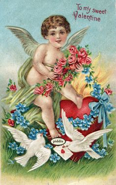 Super-cute vintage Victorian-era Valentine with cupid, roses, birds, love letter and hearts. One of more than 100 #vintage victorian-era #valentines available from piddix for licensing. PDXC8392 -- Valentine's Day