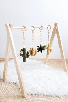 Cactus Baby Play Gym Toys, Wooden Play Gym Toys, Baby Activity Center Toys, Cactus, Gender Neutral Play Gym Toys Source by simkarose neutral baby clothes