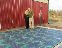 This is Julie and Scott Brusaw, creators of Solar Roadways. Solar Roadways is a modular paving system of solar panels that can withstand the heaviest of trucks (250,000 pounds). These Solar Road Panels can be installed on roads, parking lots, driveways, sidewalks, bike paths, playgrounds... literally any surface under the sun. They pay for themselves primarily through the generation of electricity, which can power homes and businesses connected via driveways and parking lots.