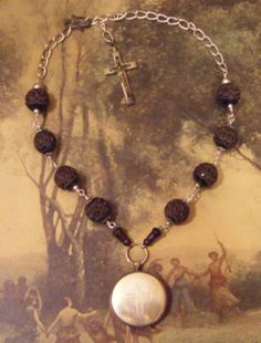 RESERVED Antique religious necklace reliquary by madonnaenchanted