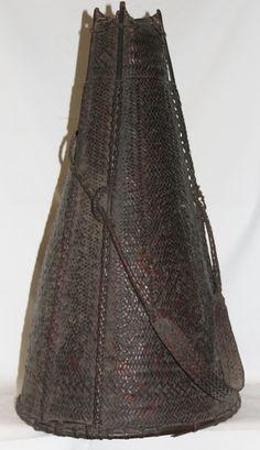 Hand Woven Basket : Authentic Naga Khiamungan Woven Cane Kong Basket for Bamboo #645