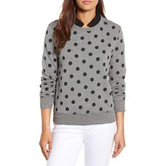 Petite Women's Halogen Removable Collar Sweatshirt ($59) ❤ liked on Polyvore featuring tops, hoodies, sweatshirts, petite, green polka dot top, petite tops, polka dot sweatshirt, polka dot tops and petite sweatshirts
