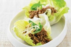 Pork & lemon grass larb   No need for cutlery - just roll up these lettuce cups and enjoy the delicious filling. South-East Asian flavours of kecap manis and fish sauce stand out in this pork stir-fry.