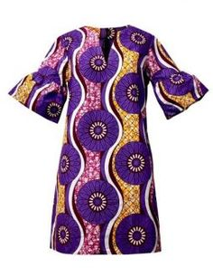 Wear our lovely Eya modern African dress for a colorful day or night look. This African print dress features fun ruffle sleeves. Order one for your wardrobe! African Print Clothing, African Print Dresses, African Wear, African Attire, African Fashion Dresses, African Women, African Dress, African Prints, African Inspired Fashion