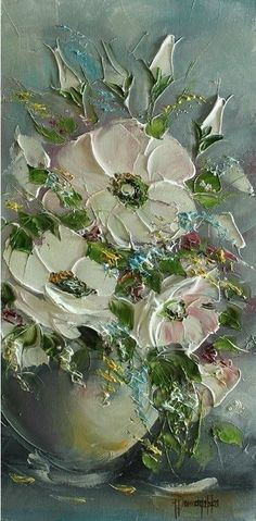 Painting by Joanna Domagalska. Palette Knife Painting, Arte Floral, Abstract Flowers, Texture Painting, Art Oil, Art Pictures, Flower Art, Canvas Art, Fine Art