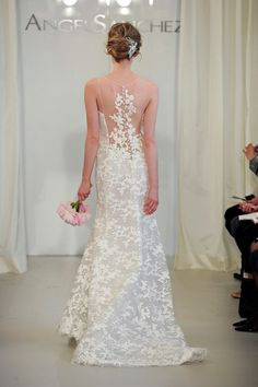 f3121206b2a angel sanchez spring 2014 bridal sleeveless illusion neckline portrait back  dress -- Angel Sanchez 2014 Wedding Dresses