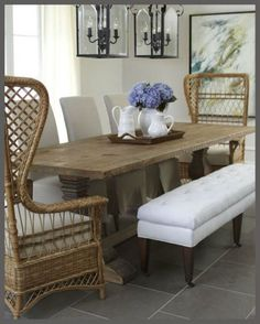 Coastal wicker dining room-I like this grouping for a formal Beach House dining room.