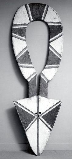 Nafana, Kulango, Degha, Male Mask (Bedu) Male Mask (Bedu), Ivory Coast or Ghana, 19th–mid-20th century, Wood, pigment, iron nails, 109-7/8 in. Metropolitan Museum of Art, New York