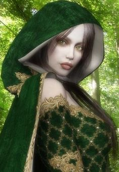 Green:  #Green garments and woods.
