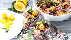 Quinoa Mixed Fruit Salad Recipe: I'll try basil or maybe lemon balm, rather than mint Mixed Fruit Salad Recipe, Quinoa Fruit Salad, Quinoa Mix, Fruit Salad Recipes, Fruit Salads, Healthy Eating Recipes, Delicious Vegan Recipes, Healthy Breakfast Recipes, Clean Recipes