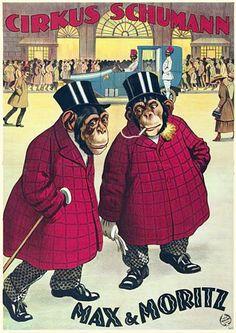 Vintage Max & Moritz 1922 Chimpanzee Circus Posters Prints