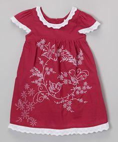 Maroon Bird Embroidered Dress - Infant, Toddler & Girls