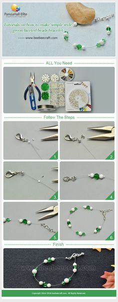 #Beebeecraft #tutorials on how to make simple style green #facetedbeads #bracelet