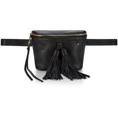 Rebecca Minkoff Wendy Leather Belt Bag (£120) ❤ liked on Polyvore featuring bags, black, belt bag, fanny bag, waist bag, waist fanny pack and leather belts