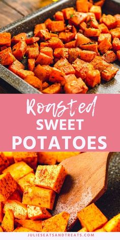 Potatoes Roasted Sweet Potatoes are the perfect side dish for a busy night! Diced sweet potatoes tossed with olive oil, seasoned and roasted in the oven. The end result is caramelized pieces of sweet potatoes with a soft center! Healthy Side Dishes, Vegetable Side Dishes, Side Dishes Easy, Side Dish Recipes, Veggie Recipes, Vegetarian Recipes, Cooking Recipes, Healthy Recipes, Chicken Recipes