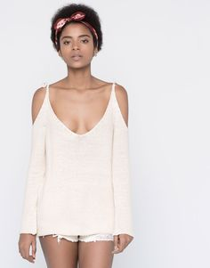 CUT OUT SWEATER WITH TIE - CARDIGANS & SWEATERS - WOMAN - PULL&BEAR Poland