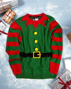 Make it silly with a festive elf jumper Jumper, Men Sweater, Christmas 2014, Latest Fashion, Elf, Christmas Sweaters, Festive, How To Make, Clothes