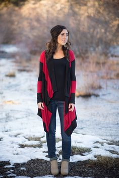 Long, Stripped Cardigan - Red