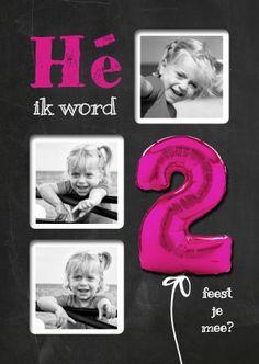Hippe uitnodiging voor 2e verjaardag. Krijtbord, je eigen foto's en een roze ballon. Dat wordt een superleuk kinderfeestje!