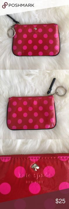 Kate Spade coin purse A small red and pink polka dotted coin/ credit card purse with keychain kate spade Bags Mini Bags