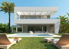 La Finca 2 villas - Luxurious villas in Rio Real with 4 & 5 bedrooms Model House Plan, House Plans, Villa Design, House Design, Conception Villa, Marbella Villas, Villa With Private Pool, Home Design Plans, Open Plan Living