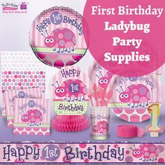 Buzz on over, fly this way. Let's celebrate our little lady's special day! Shop our fabulous 1st birthday ladybug party supplies here#FirstBirthdaySupplies #LadybugPartySupplies #MyBirthdaySupplies