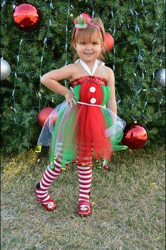 aa46e4240eb elf costume tutu dress Kids Christmas Outfits