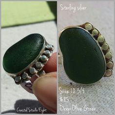 Size 10 3/4 $85  Deep olive green  Sterling silver  Be the first to claim it! All I need is your email for the Square invoice, and it can ship tomorrow! ................................................ Shop for treasures at:  www.coastalstudioeight.com