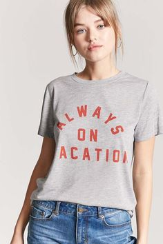 FOREVER 21 Heathered Always On Vacation Graphic Tee $7 #affiliate