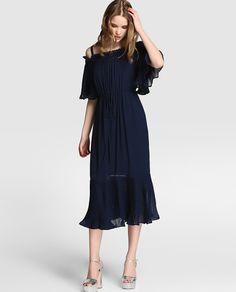 f463d2db32 Vestido midi de mujer Tintoretto con volantes plisados