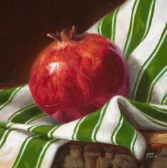 Pomegranate and Stripes - Original Fine Art for Sale - © Dave  Capalungan