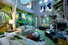 Living Room A Breathtaking Natural Mural Wallpaper Design For Open Space Living Room With Great Natural Stone Decors Also Green Fur Rug With Brown Trunk Table How to Make Masculine Interior for Male Living Room on a Budget