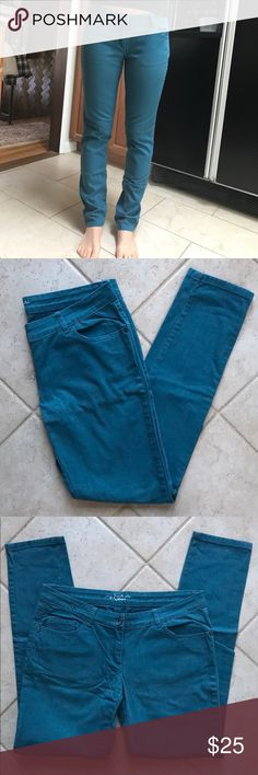 "Pimkie ""My Favorite Color"" Skinny Jeans in Teal Part of the ""My favorite color"" collection. Bought in Paris and only worn maybe 4-5 times. No size is listed but they fit perfectly when I was a size 10. They are stretchy and super comfy! Smoke free home and well cared for. Pimkie Jeans Skinny"