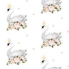 """Swan with Roses 4"""" in White fabric by shopcabin on Spoonflower - custom fabric"""