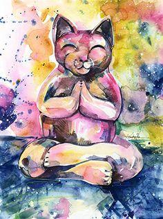 Buddha Cat No. 11 by Kathy Morton Stanion. kathymortonstanio... #kathymortonstanion #abstractart #homedecor