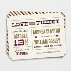 Custom Ticket Vintage Save the Dates with or without Photo-25 Ticket Save the Dates with Envelopes in your choice of colors. $50.00, via Etsy.