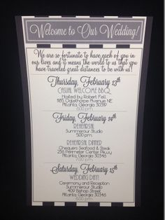 Wedding Welcome Letters / Itineraries by modernsoiree on Etsy, $3.00 This is okay. kinda simple and only 1 page, but it does the job