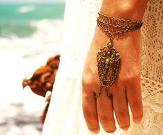 Bracelet Hipster Bronze Chain Bohemian Big Eclectic Centerpiece Multi Drape Hand Jewelry Bridal Piece