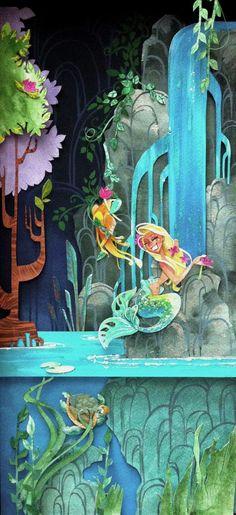mermaid lagoon illustration watercolor