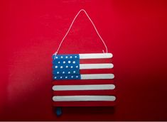How to make this recycle flag craft from popsicle sticks