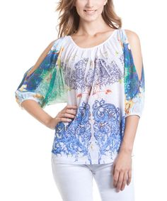 Take a look at the Blue & Green Cutout Sublimation Dolman Top on #zulily today!