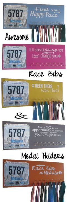 These are the best race bibs and medals holder on the web. Made with recycled wood and vibrant color they are a sure fit for any home decor. Full 1 1/4 inch long silver hooks to hold all sizes of running medals and tons of race bibs. More than 100 designs available. BIG LOVE. Must have!: