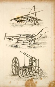 """""""Grubbers"""" This is an original 1852 black and white steel engraving of three grubbers: Finlayson's improved patent harrow; Kickwood's grubber; and Biddell's scarifier. CONDITION This 162+ year old Ite"""