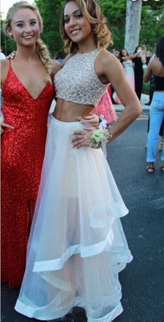 Two Piece Evening Dress,Prom Gown,Tulle Party Dress,Long Prom