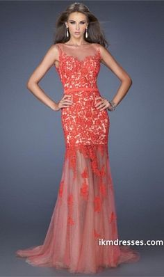 2015 Scoop Neckline With Beautiful Low Back Prom Dress Mermaid Lace&Tulle http://www.ikmdresses.com/2014-Scoop-Neckline-With-Beautiful-Low-Back-Prom-Dress-Mermaid-Lace-amp-Tulle-p84377