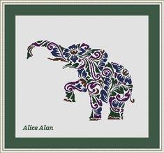 Cross Stitch Pattern Silhouette Elephant flowers by HallStitch