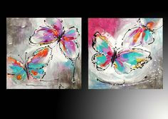 Cuadros de mariposa, quiero hacerlos!! Butterfly Painting, Butterfly Art, Butterflies, Abstract Canvas, Canvas Wall Art, Acrylic Painting Inspiration, Whimsical Art, Art Techniques, Watercolor Art