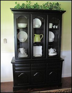 A Hutch Re Do China Cabinet RedoHutch RedoChina MakeoverGlass CabinetsChina CabinetsBlack HutchDining Room