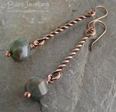 Antiqued copper twist earrings with Indian Fancy Jasper drops by wanting